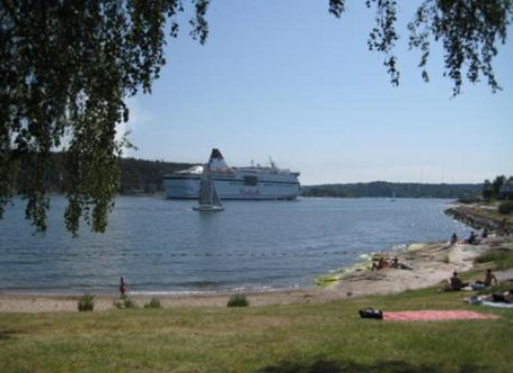 Beach at Käppala. You can watch the ferries starting their journey across the Baltics.