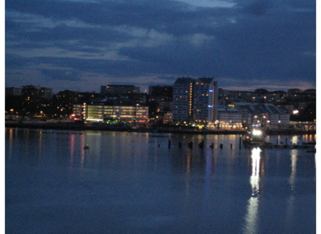 Stockholm freeport at night, viewed from nearby our home.