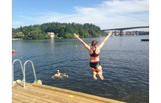 The islands swimming place, 5 minutes walk from our house.