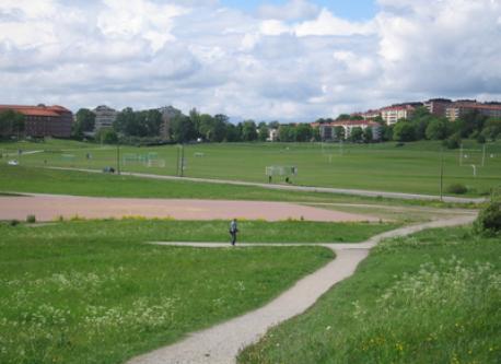 sportsfield across the street