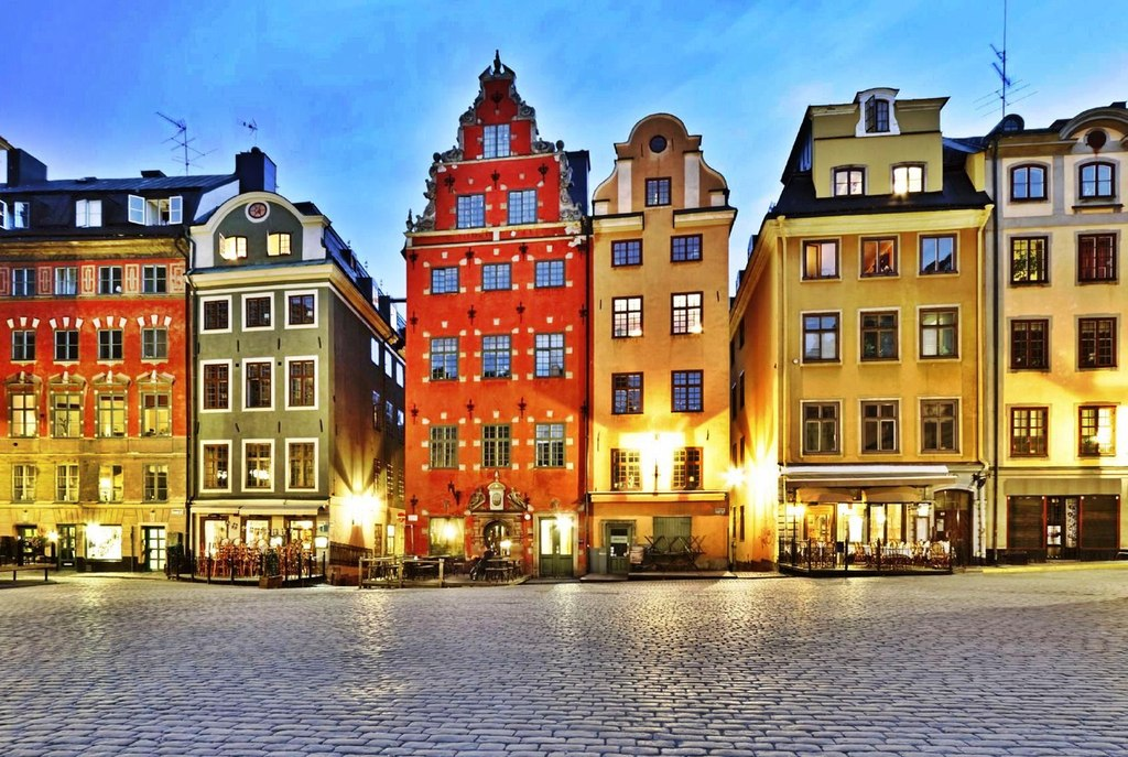 Old town, (Gamla Stan) at night.