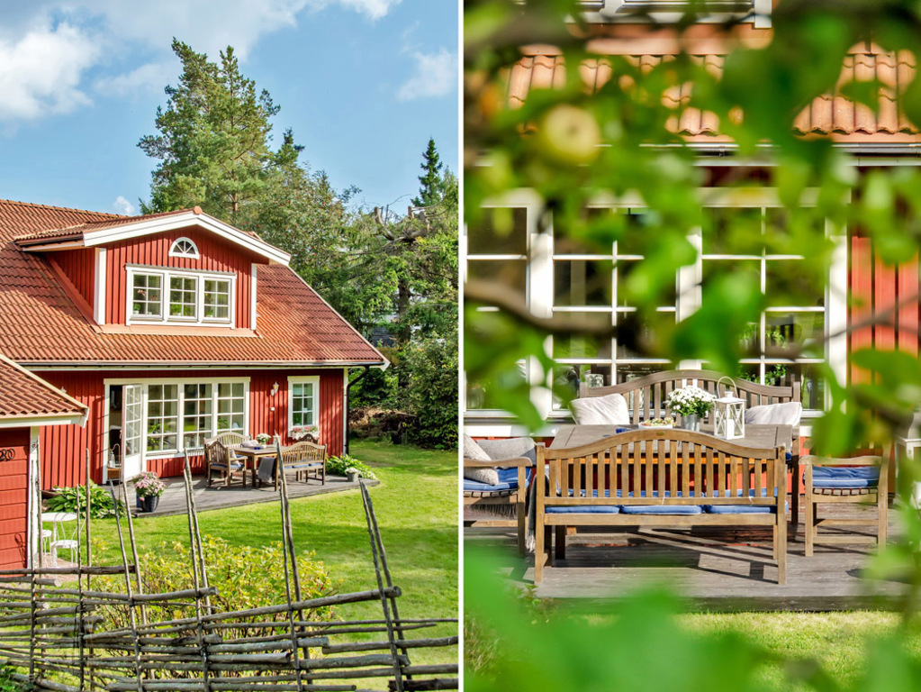 Traditional wooden swedish house with terrace