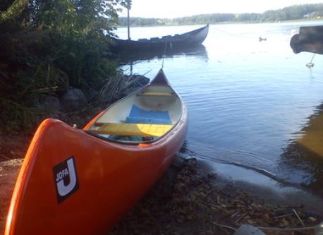 The canoe on a trip in lake Mälaren