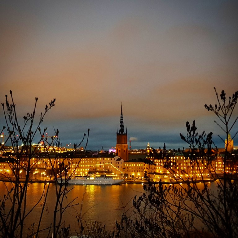 Sunset Stockholm city.