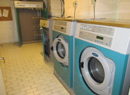 The laundry room is in the same house, free to use. Two washing machines, a tumble-dryer and a drying cupboard.