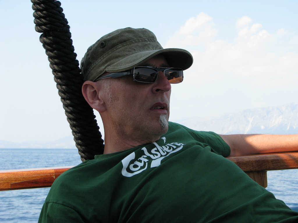 This is me on a sail cruise just outside one of our favorite islands Lefkada, Greece