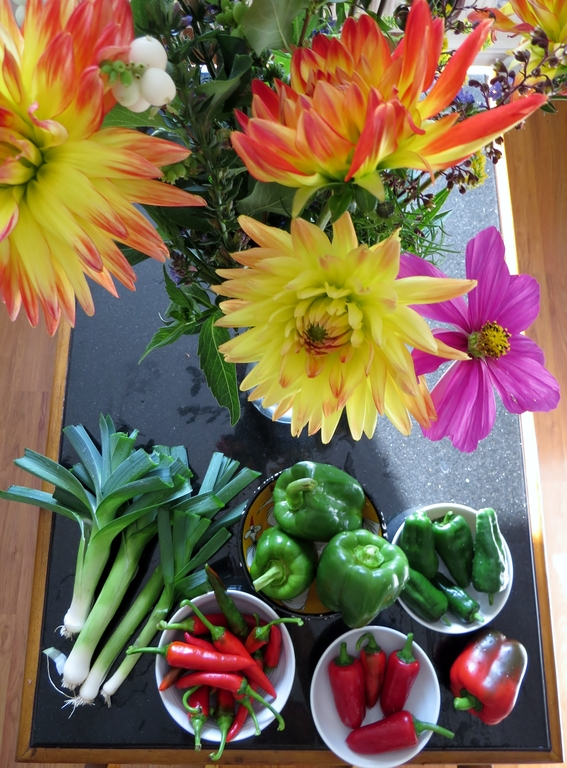 Autumn harvest! Vegetables and flowers from our garden.