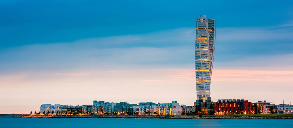 Malmö with spectacular Turning torso building