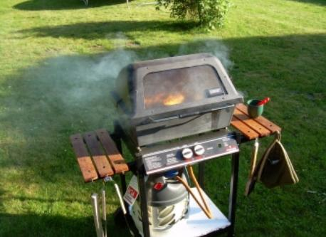 The gas-powered barbecue