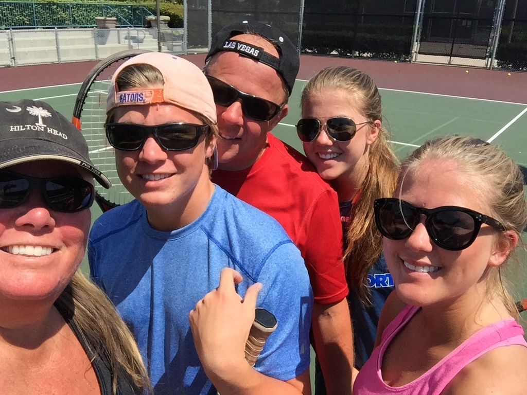 Playing tennis in Newport Beach, summer 2015