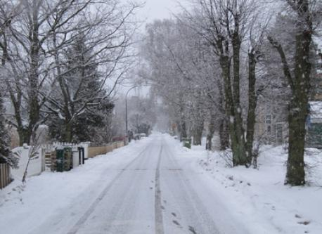 Our street in the snow in December
