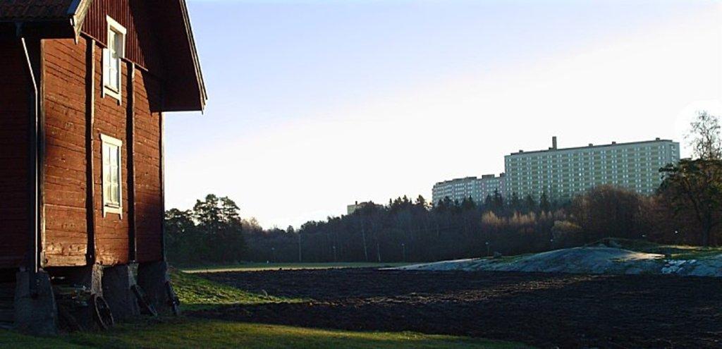 View from Rönninge 17th century working farm towards our block of flats in Hägernäs