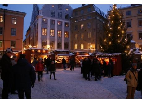 The annual Christmas market at Stortorget.