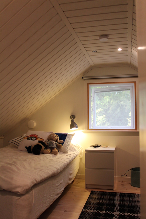 The loft bedroom. Single bed but an extra bed can be installed.