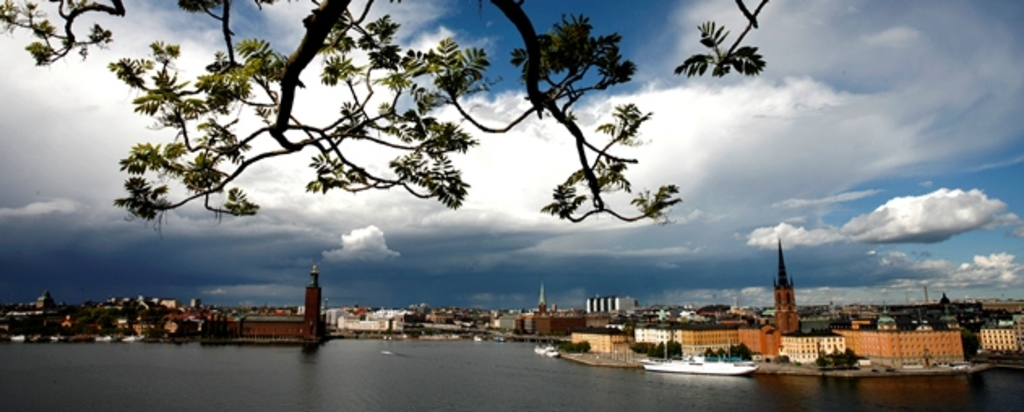 View of the Stockholm city hall and the old town from the sea
