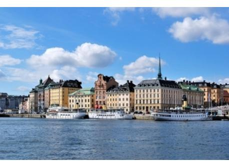 Old town in Stockholm, view from lake Mälaren