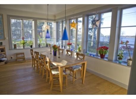 Kitchen sitting area 12, panorma windows overlooking the Baltic Sea