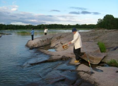 Fishing at Vänern biggets lake in Sweden
