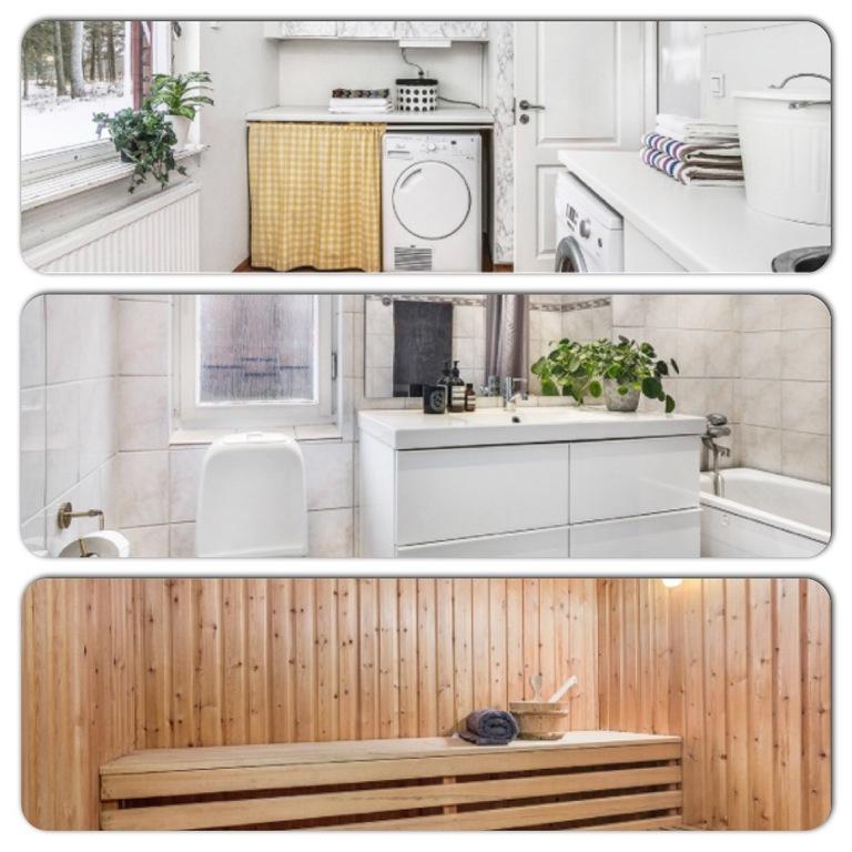 Laundry, bathroom and sauna