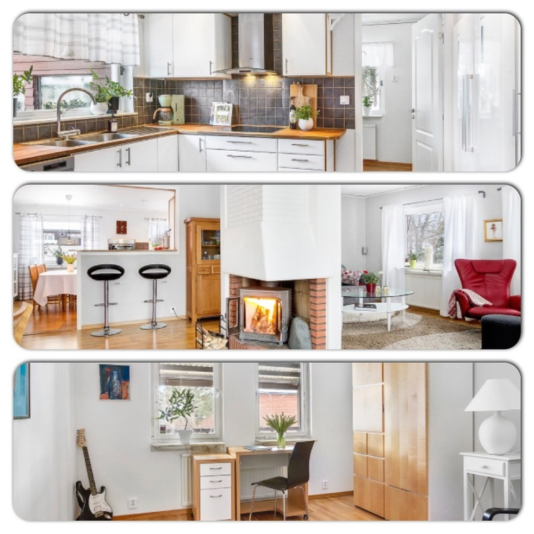 Kitchen, livingroom and office