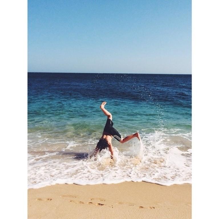 Mattis playing at the beach