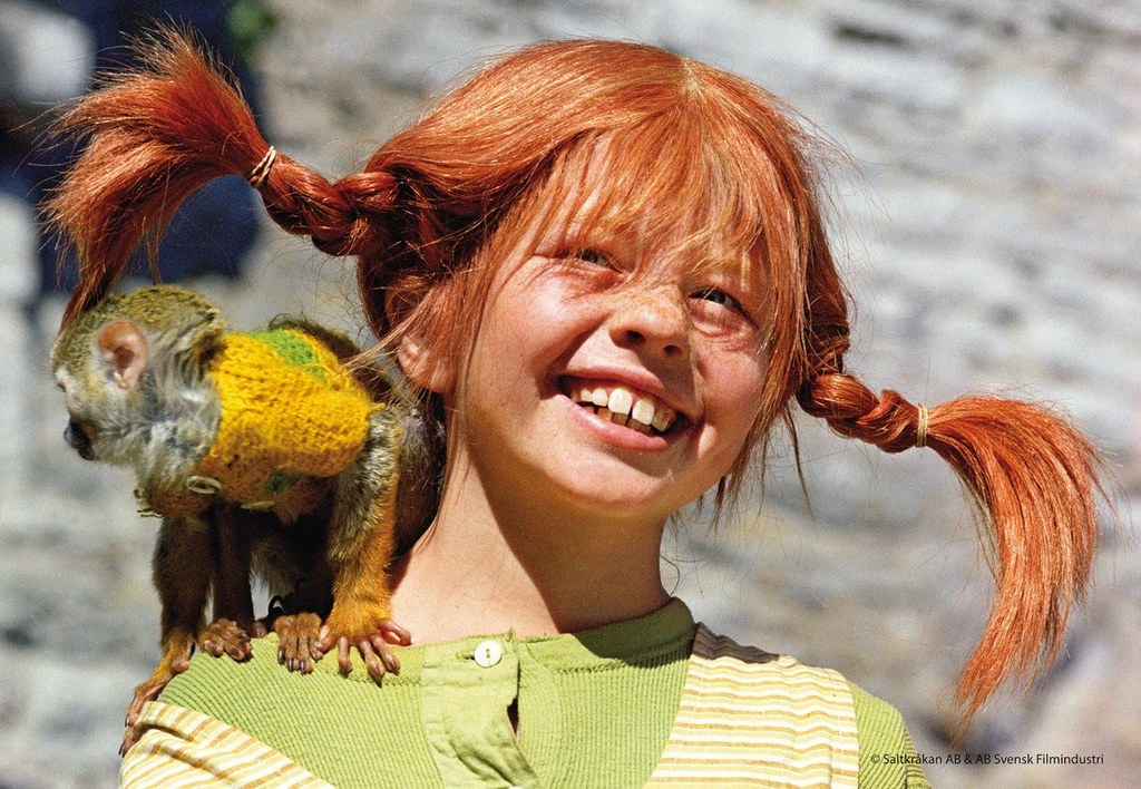 Pippi Longstocking. There is a wonderful place: Junibacken at Djurgården. There you can meet and play with your children.