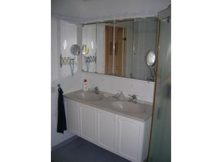 Bathroom with shower downstairs.