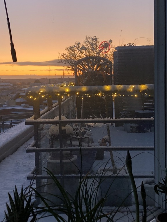 Terrace at winter, with view of the city