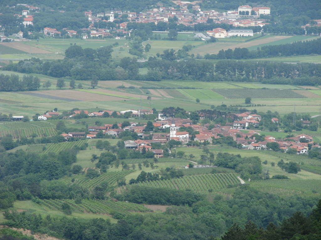 Village from a viewpoint above it.