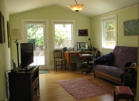 Study/second bedroom with door to deck