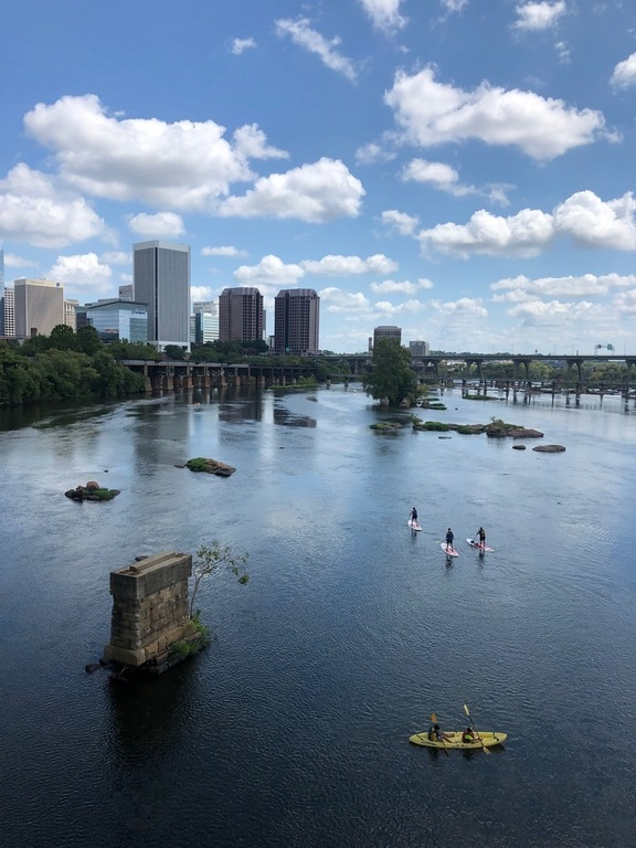 The James River runs through downtown Richmond