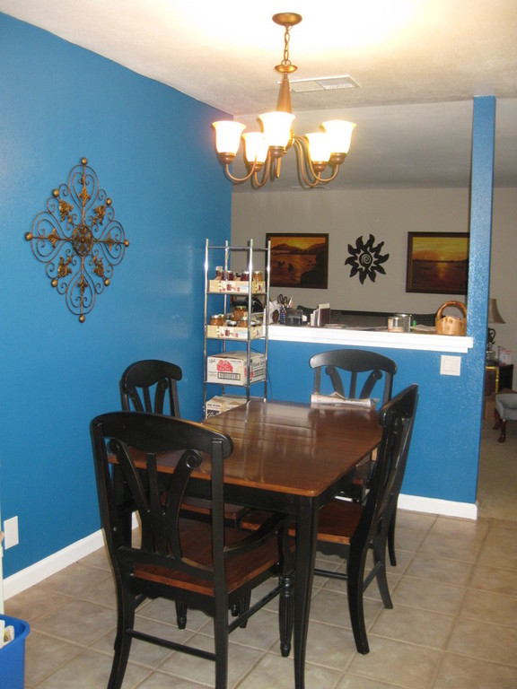 The dining area/kitchen.