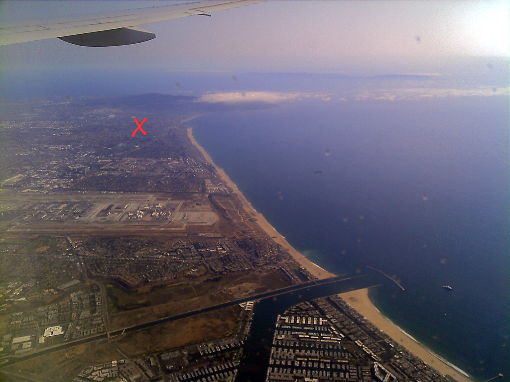 Looking south from Marina del Rey: we are at the red X. 20+ miles of beaches from Santa Monica to Palos Verdes under the wing.
