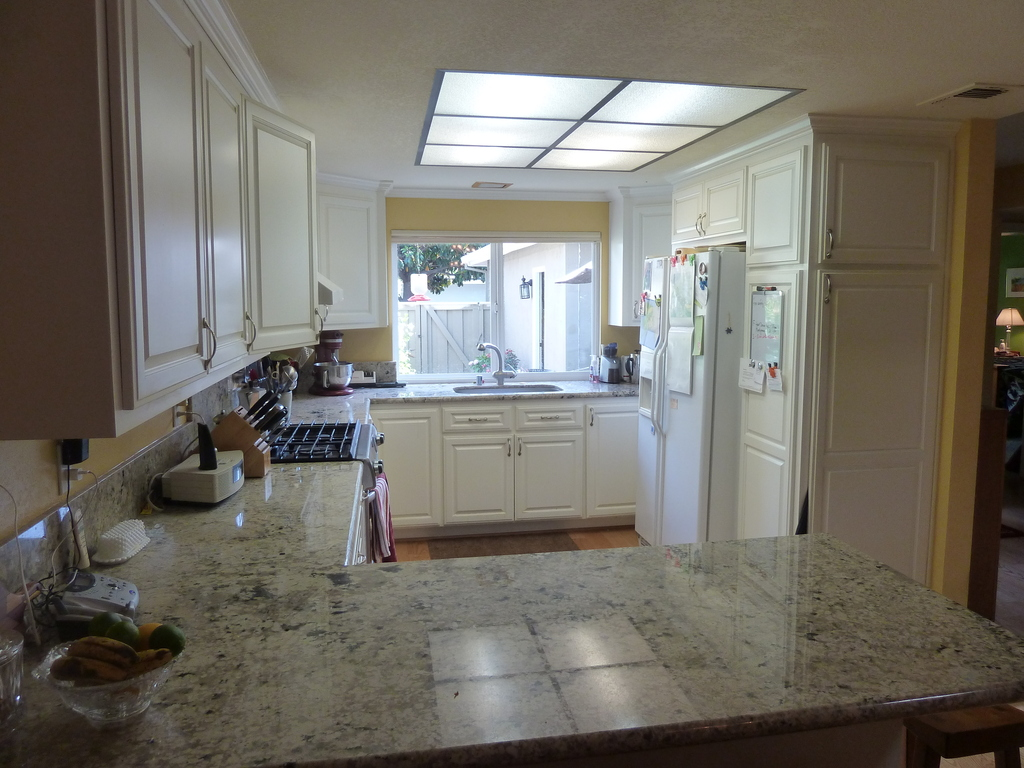 Looking into the kitchen from the dining room.