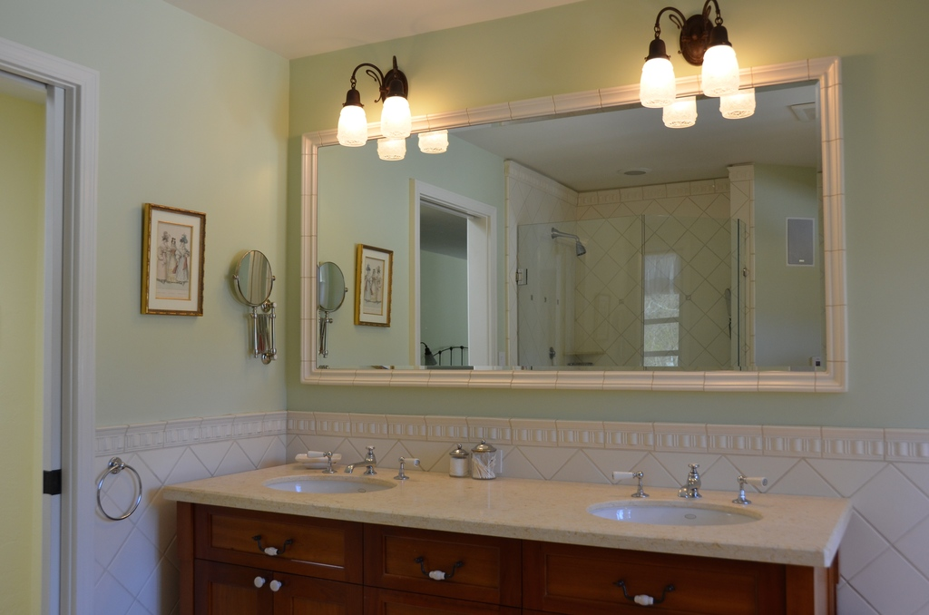 Master bath; with tub for two, separate shower and toilet room.