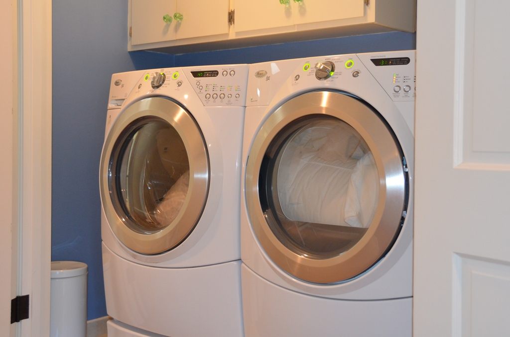New washer and dryer, upstairs with bedrooms.