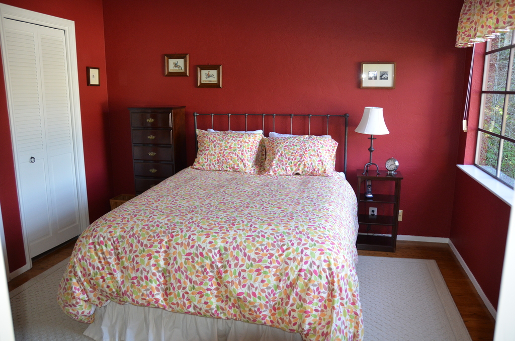 Bedroom #2 with queen bed; down duvet and cotton sheets.