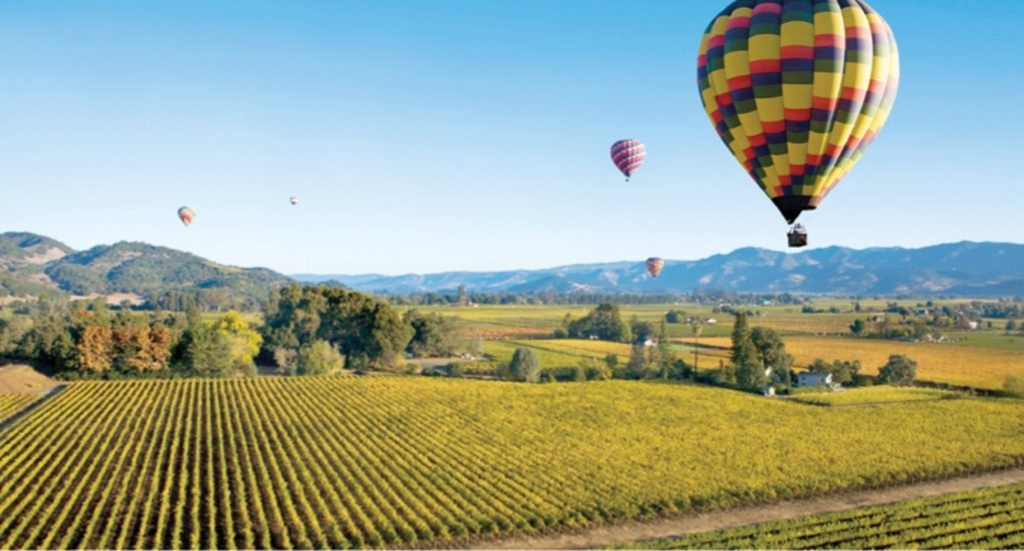 Hot air ballooning over Napa Valley