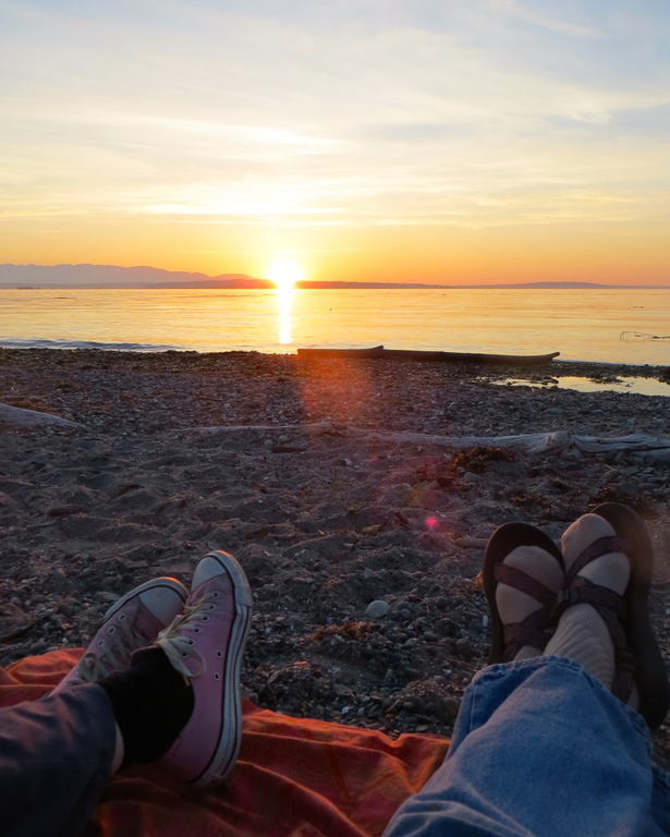Relaxing at sunset at Carkeek Park
