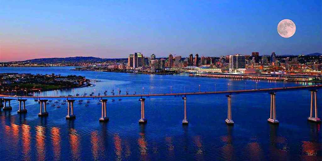 View of downtown San Diego and the Coronado bridge. 15-20 minutes from our house.