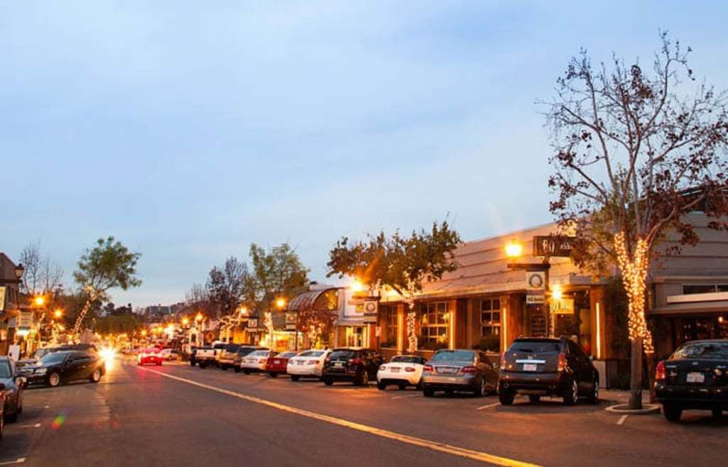 Downtown La Mesa at dusk is charming with the lights and lots of dining options. There is a Farmer's market every Friday!