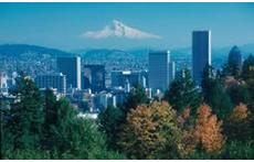 The city of Portland with Mt. Hood in the background.