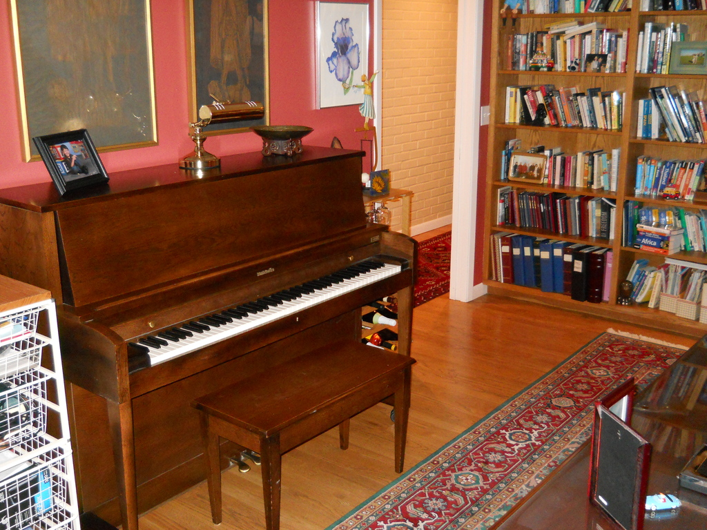 Our library and piano