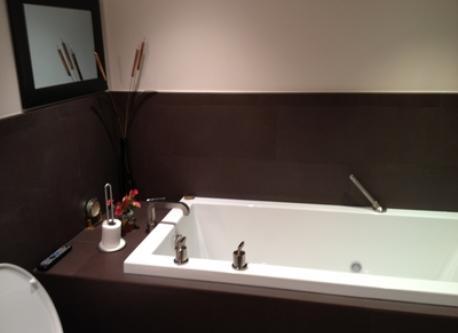 Master Bath tub and hidden television behind mirror