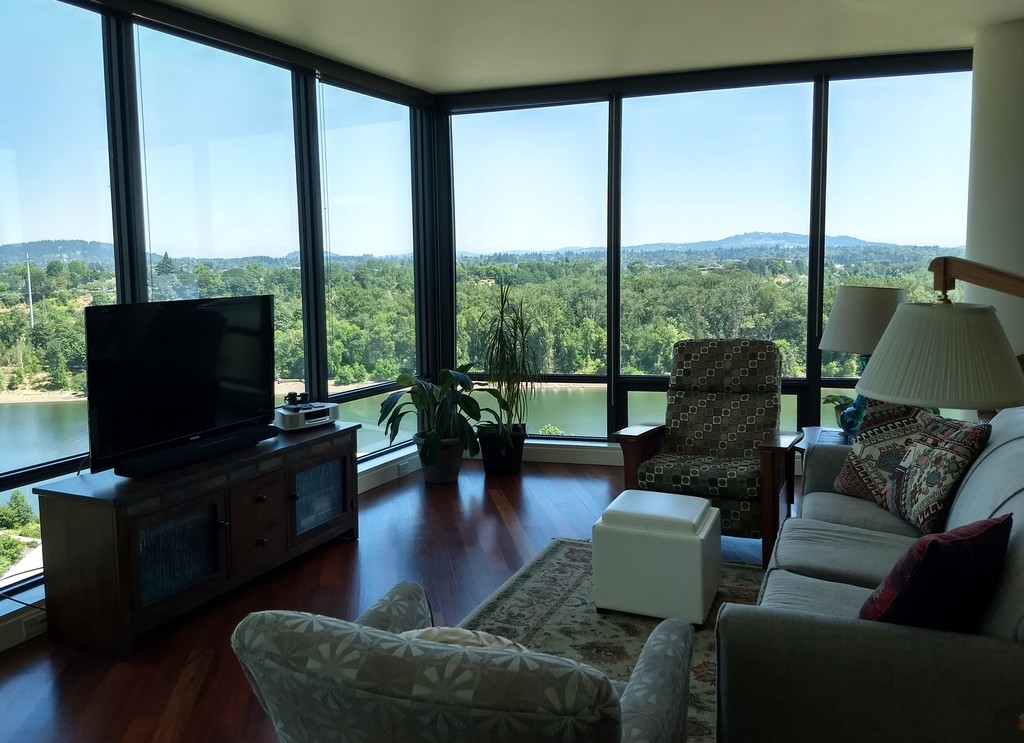 Living area with view east towards Mount Hood