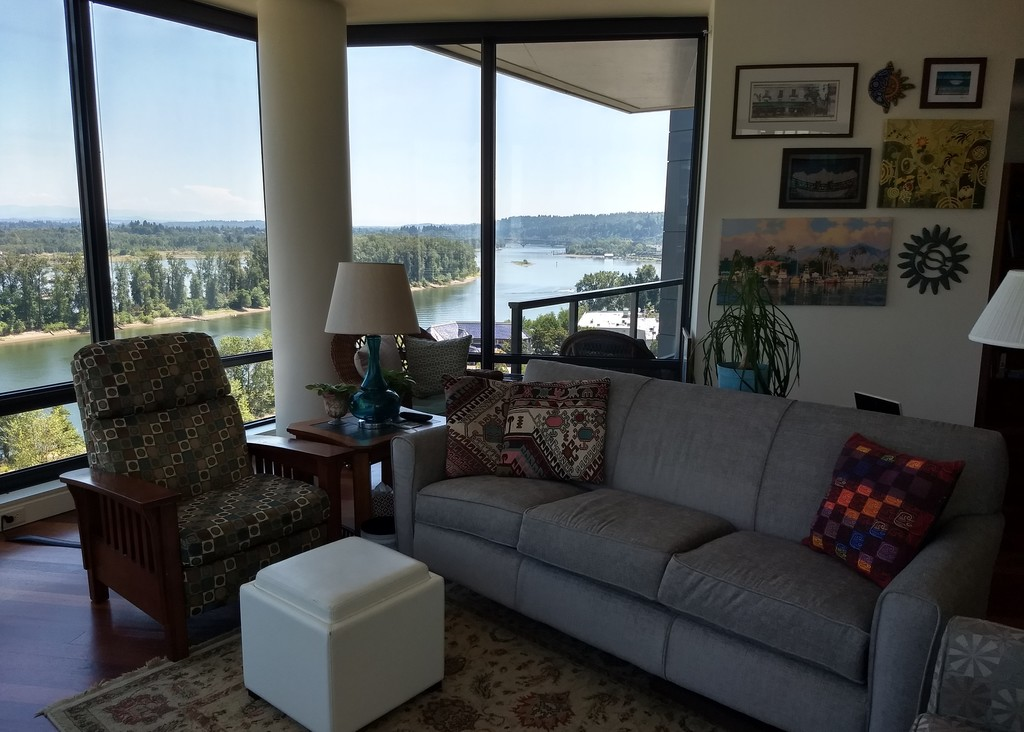 Living area with view south along on Willamette River