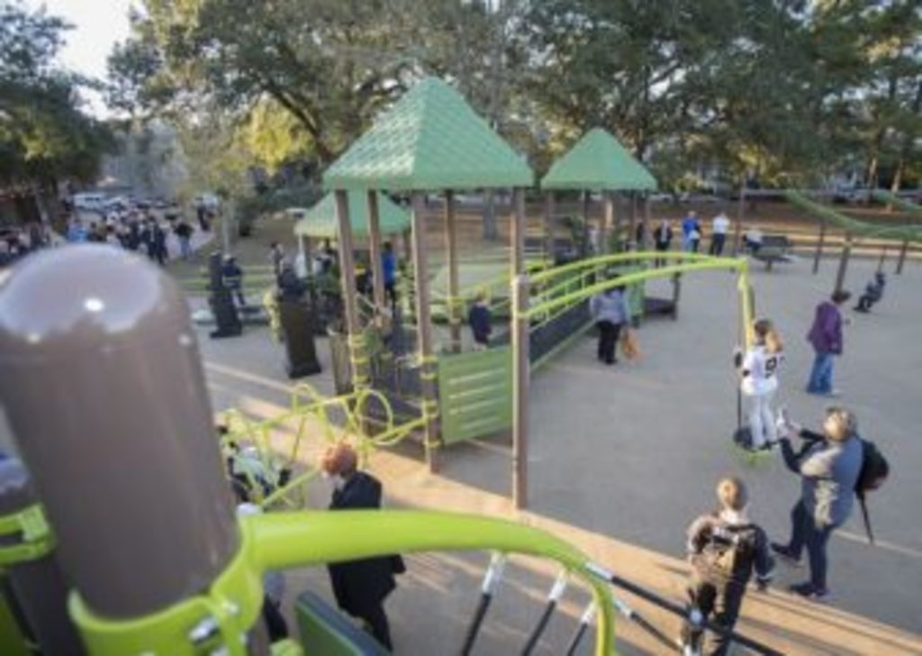 One of two playgrounds at Audubon Park (five blocks from our house)