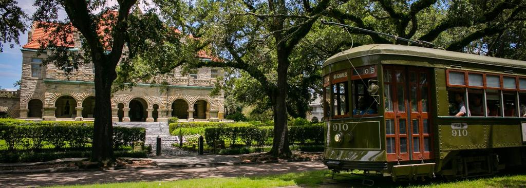 The St. Charles streetcar in the Garden District...