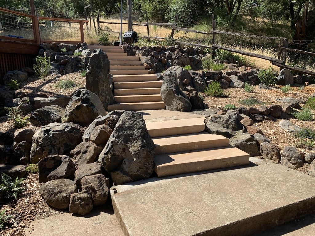Stone stairway through the California native plant garden