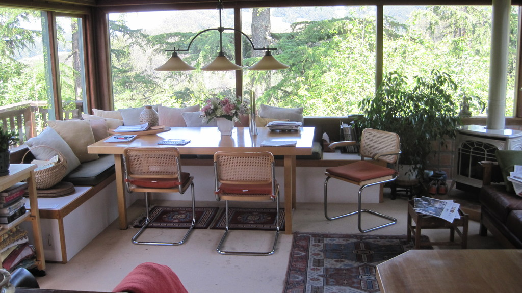 From the dining table there's a peaceful view of Tilden Park and the Ocean View Trail.